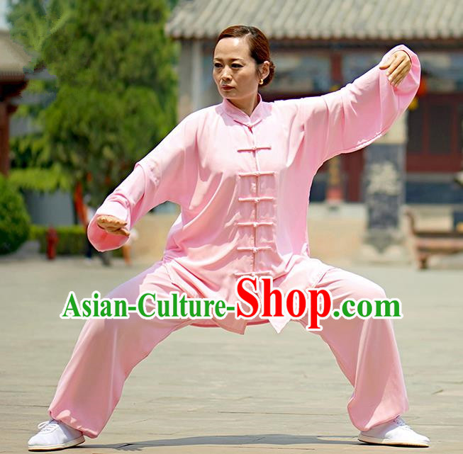 Chinese Kung Fu Plated Buttons Costume, Traditional Martial Arts Kung Fu Tai Ji Pink Uniform for Women for Men