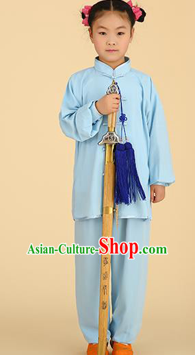 Chinese Kung Fu Linen Plated Buttons Costume, Traditional Martial Arts Tai Ji Blue Long Sleeve Uniform for Kids