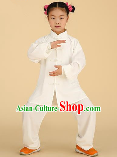 Chinese Kung Fu Linen Plated Buttons Costume, Traditional Martial Arts Tai Ji White Long Sleeve Uniform for Kids