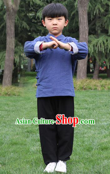 Chinese Kung Fu Linen Slant Opening Costume, Traditional Martial Arts Tai Ji Navy Uniform for Kids