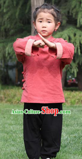 Chinese Kung Fu Linen Slant Opening Costume, Traditional Martial Arts Tai Ji Red Uniform for Kids