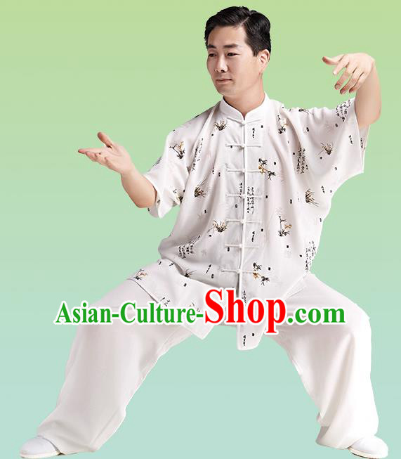 Chinese Linen Kung Fu Short Sleeve Costume, China Traditional Martial Arts Kung Fu Tai Ji Training Uniform for Adult