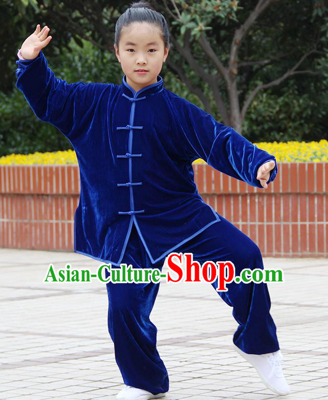 Traditional Chinese Kung Fu Blue Velvet Costume, China Martial Arts Tai Ji Uniform Clothing for Kids