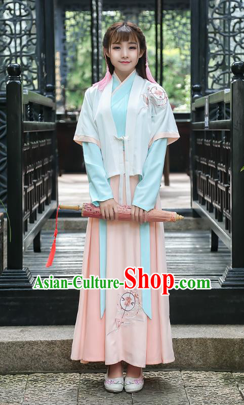 Traditional Chinese Ming Dynasty Palace Lady Ancient Princess Hanfu Embroidered Costume for Women