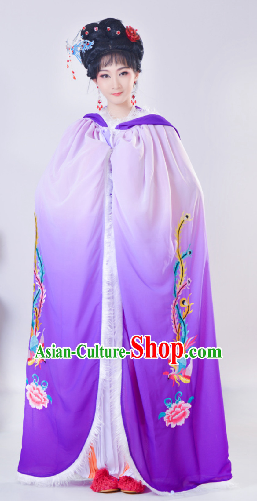 Ancient Chinese Style Mantle Kimono Costume Ancient Embroidered Phoenix Color Changing Fancy Dress Complete Set