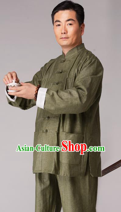 Traditional Chinese Kung Fu Green Linen Costume, China Martial Arts Uniform Tai Ji Tang Suit Plated Buttons Clothing for Men