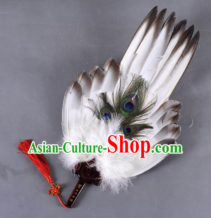 Traditional Chinese Crafts Folding Fan China White Feather Large Fan Oriental Fan Zhuge Liang Fans