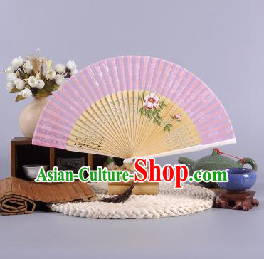 Traditional Chinese Crafts Hand Painted Peony Pink Silk Folding Fan China Oriental Fans for Women
