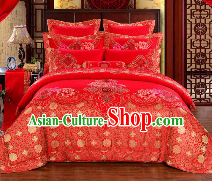 Traditional Chinese Wedding Red Satin Qulit Cover Bedding Sheet Embroidered Ten-piece Duvet Cover Textile Complete Set