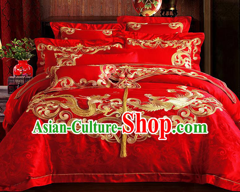 Traditional Asian Chinese Wedding Palace Qulit Cover Bedding Sheet Embroidered Dragon Phoenix Satin Ten-piece Duvet Cover Textile Complete Set