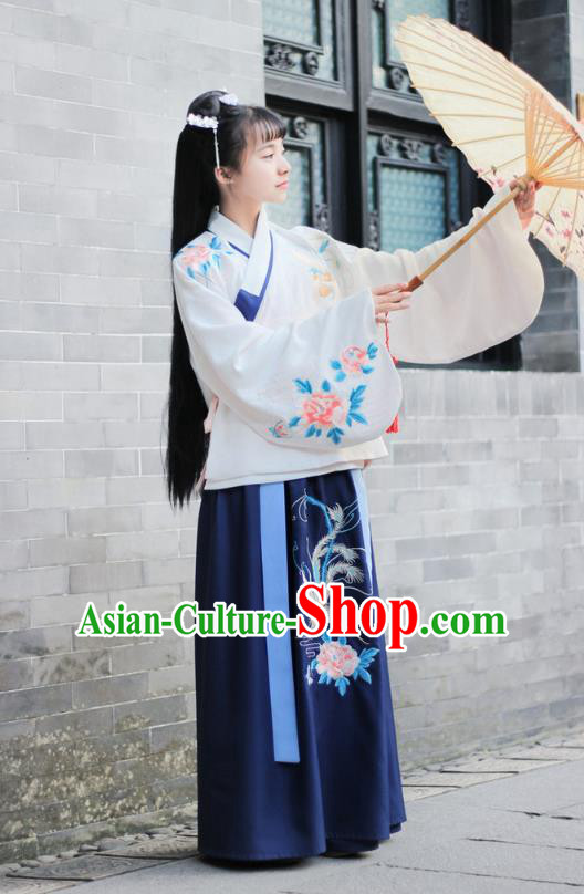 Traditional Chinese Ancient Ming Dynasty Palace Lady Princess Hanfu Embroidered Peony Costume for Women