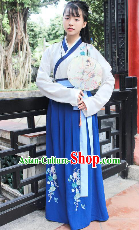 Traditional Chinese Ancient Han Dynasty Young Lady Hanfu Costume Embroidered White Blouse and Blue Skirt for Women