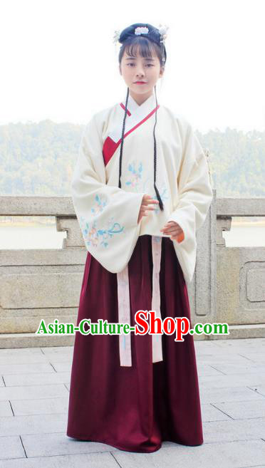 Traditional Chinese Ancient Ming Dynasty Princess Hanfu Costume Embroidered White Blouse and Wine Red Skirt for Women