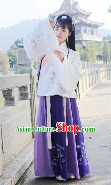 Traditional Chinese Ancient Ming Dynasty Princess Hanfu Costume Embroidered White Blouse and Purple Skirt for Women