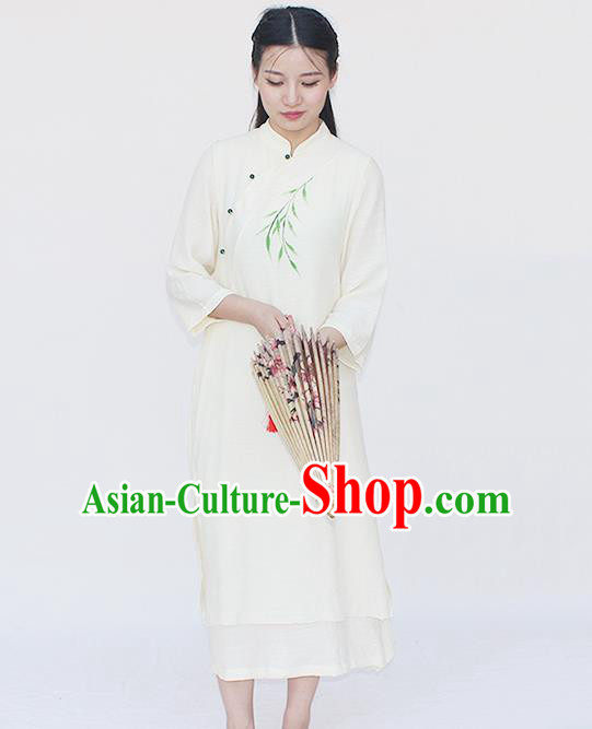 Traditional Chinese National Dress Costume Printing Qipao Slant Opening Cheongsam for Women