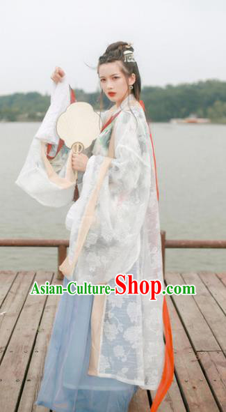 Traditional Chinese Jin Dynasty Palace Lady Hanfu Costume Embroidered Wide Sleeve Cardigan for Women