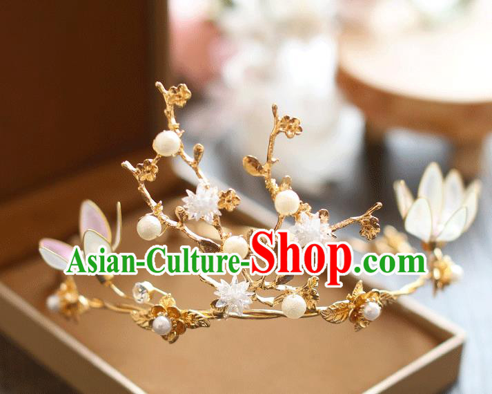 Chinese Traditional Bride Hair Jewelry Accessories Baroque Wedding Flowers Pearls Royal Crown for Women