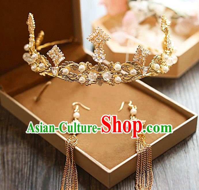 Chinese Traditional Bride Hair Jewelry Accessories Baroque Wedding Golden Royal Crown for Women