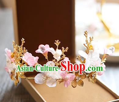 Chinese Traditional Bride Hair Jewelry Accessories Baroque Wedding Flowers Royal Crown for Women