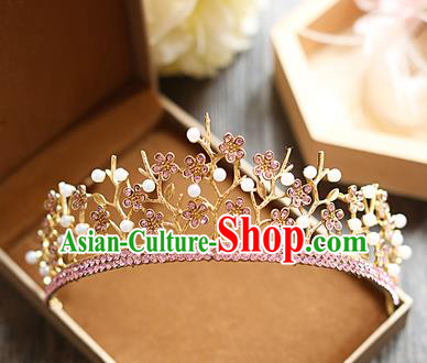 Chinese Traditional Bride Hair Jewelry Accessories Baroque Wedding Pink Crystal Royal Crown for Women