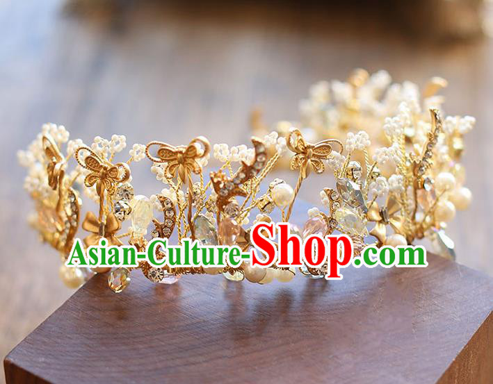 Chinese Traditional Bride Hair Accessories Baroque Princess Golden Butterfly Hair Clasp Wedding Royal Crown for Women