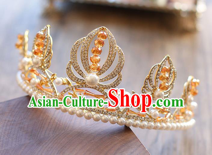 Chinese Traditional Bride Hair Accessories Baroque Princess Pearls Hair Clasp Wedding Crystal Royal Crown for Women