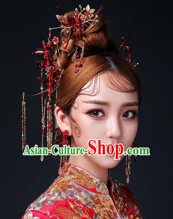 Chinese Traditional Bride Hair Jewelry Accessories Palace Xiuhe Suit Red Dragonfly Phoenix Coronet Wedding Tassel Headwear for Women