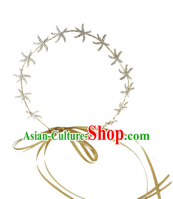 Chinese Traditional Bride Hair Jewelry Accessories Wedding Crystal Starfish Hair Clasp Headwear for Women