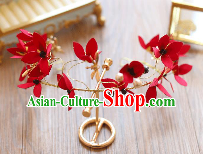 Chinese Traditional Bride Hair Jewelry Accessories Wedding Red Silk Flowers Hair Clasp Headwear for Women