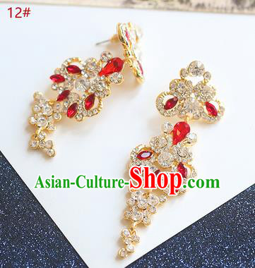 Chinese Traditional Bride Jewelry Accessories Eardrop Princess Wedding Red Crystal Peacock Earrings for Women