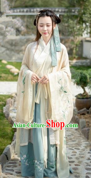 Traditional Chinese Jin Dynasty Young Lady Clothing Ancient Princess Hanfu Embroidered Costume for Women