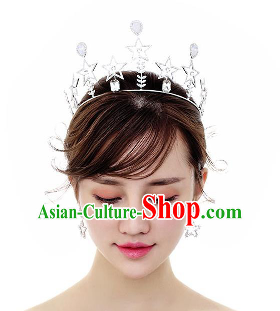 Chinese Traditional Bride Hair Accessories Baroque Princess Headwear Wedding Crystal Star Royal Crown for Women