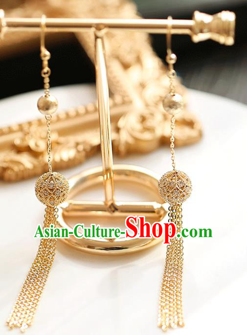 Chinese Traditional Bride Jewelry Accessories Eardrop Princess Wedding Golden Tassel Earrings for Women