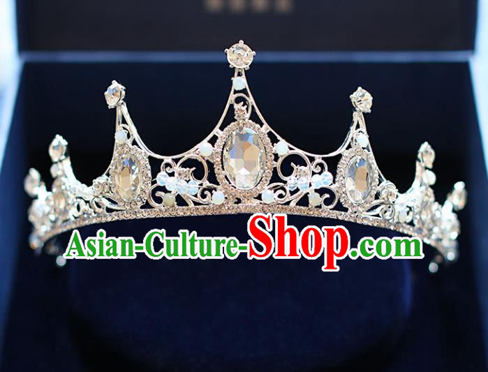 Chinese Traditional Bride Hair Accessories Baroque Queen Hair Clasp Wedding Crystal Royal Crown for Women