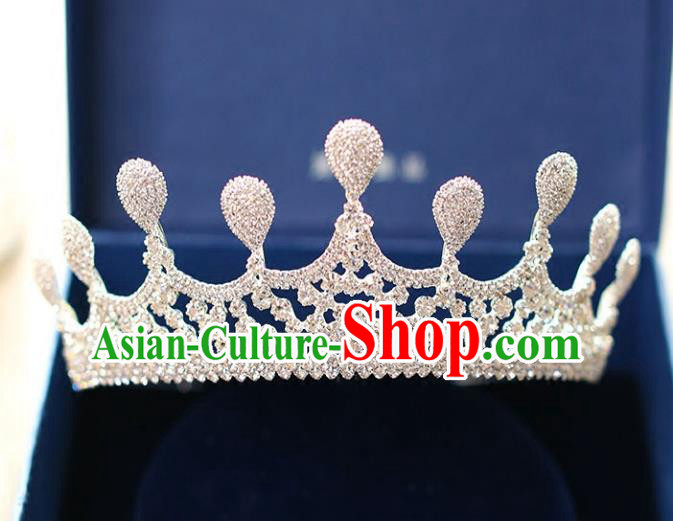 Chinese Traditional Hair Accessories Baroque Bride Hair Clasp Wedding Crystal Royal Crown for Women