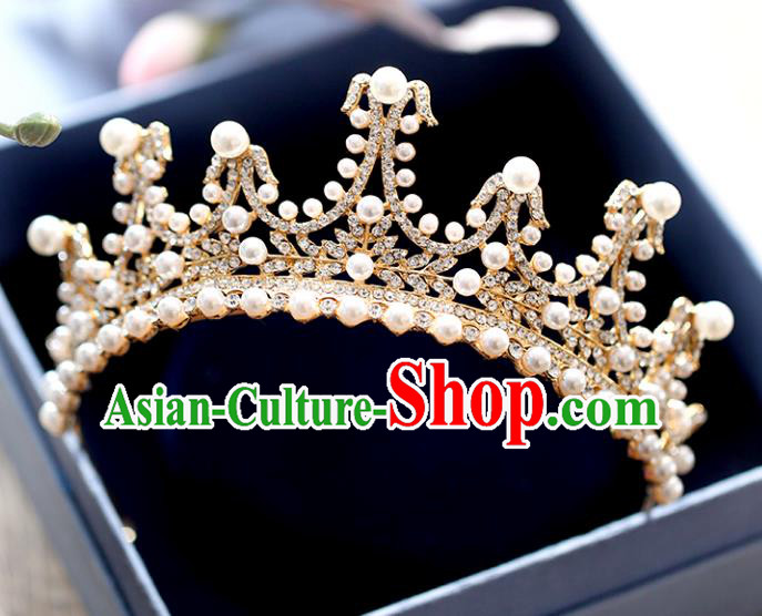 Chinese Traditional Hair Accessories Baroque Bride Pearls Hair Clasp Wedding Crystal Royal Crown for Women