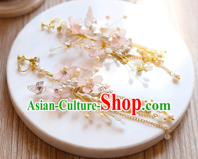 Chinese Traditional Bride Jewelry Accessories Eardrop Princess Wedding Pink Flowers Tassel Earrings for Women