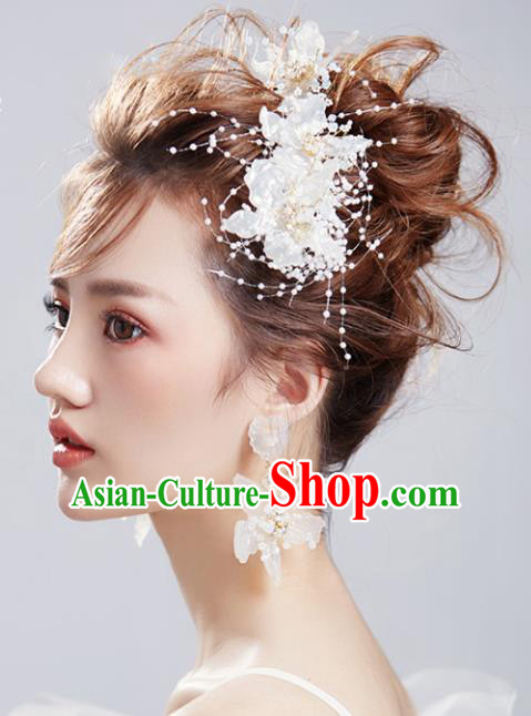 Chinese Traditional Bride Hair Jewelry Accessories Wedding Baroque Retro White Shell Flowers Hair Clasp for Women