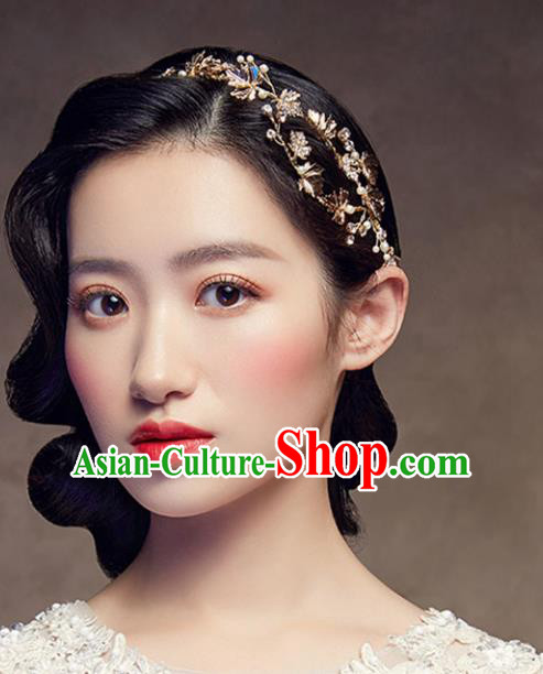 Chinese Traditional Bride Hair Jewelry Accessories Wedding Baroque Retro Golden Maple Leaf Hair Clasp for Women