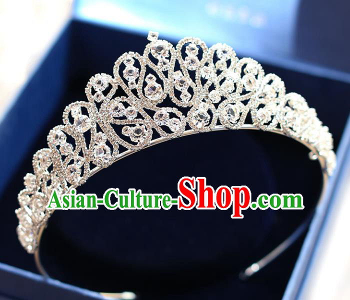Chinese Traditional Hair Accessories Baroque Hair Clasp Wedding Bride Crystal Royal Crown for Women