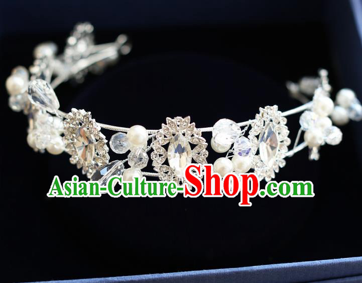Chinese Traditional Bride Hair Jewelry Accessories Wedding Crystal Hair Clasp Headband for Women