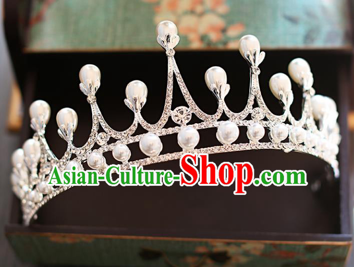 Chinese Traditional Hair Accessories Baroque Bride Hair Clasp Wedding Princess Crystal Royal Crown for Women
