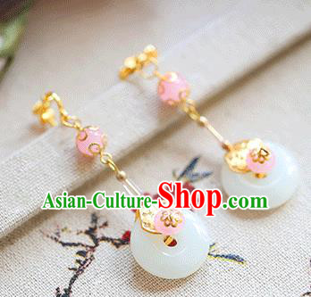 Chinese Traditional Bride Jewelry Accessories Eardrop Princess Wedding Hanfu Jade Earrings for Women