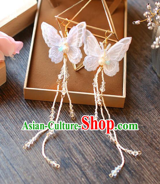 Chinese Traditional Bride Jewelry Accessories Eardrop Princess Wedding Butterfly Tassel Earrings for Women
