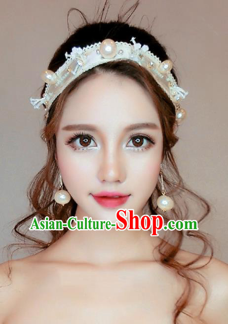 Chinese Traditional Bride Hair Accessories Wedding Pearls Hair Clasp Headband for Women