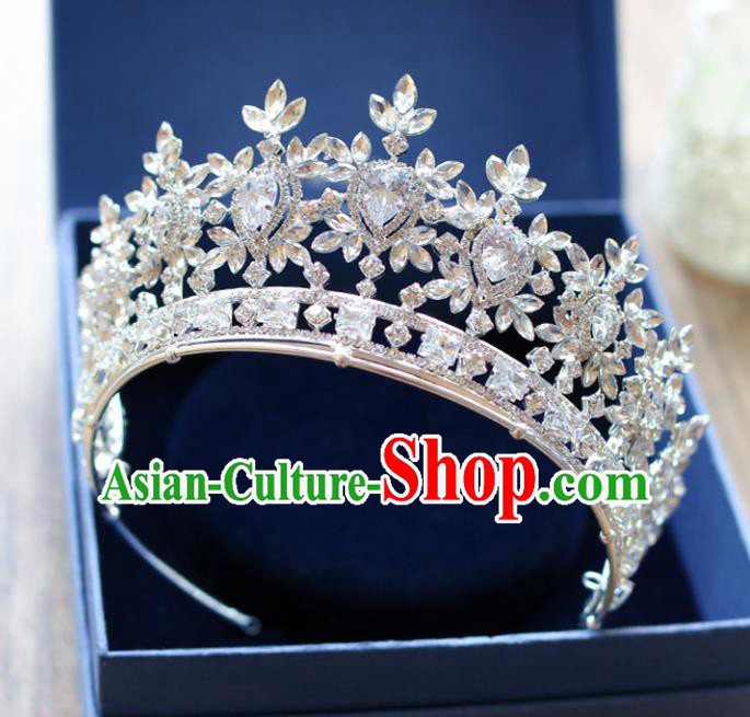 Chinese Traditional Hair Accessories Baroque Queen Hair Clasp Wedding Bride Palace Crystal Royal Crown for Women