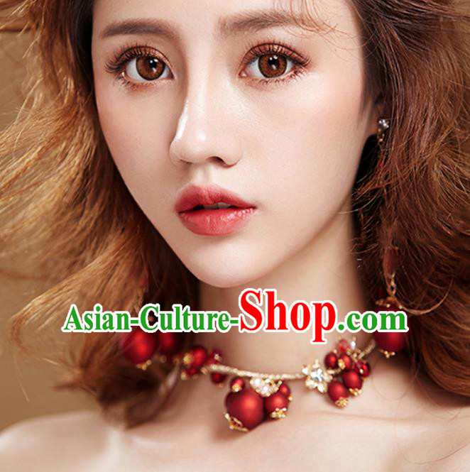Chinese Traditional Bride Jewelry Accessories Necklace Princess Wedding Red Necklet for Women