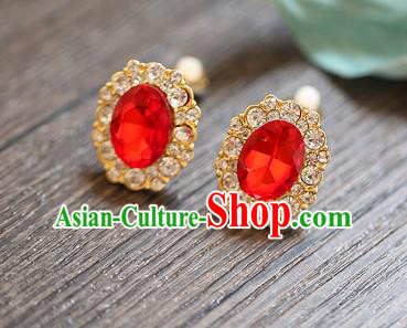 Chinese Traditional Bride Jewelry Accessories Earrings Princess Wedding Red Crystal Eardrop for Women