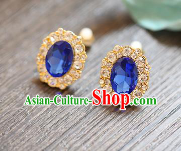 Chinese Traditional Bride Jewelry Accessories Earrings Princess Wedding Blue Crystal Eardrop for Women