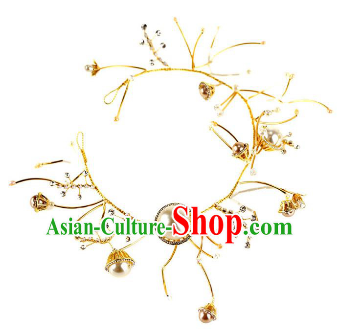 Chinese Traditional Bride Hair Accessories Wedding Pearls Hair Clasp for Women
